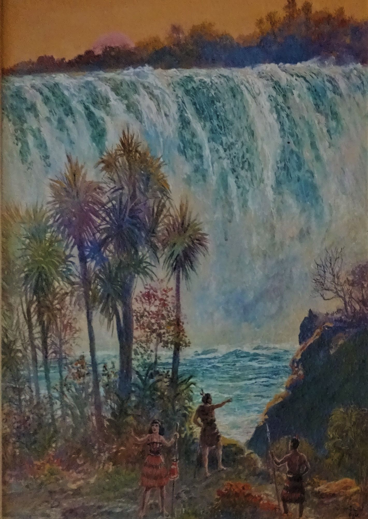Maoris near Omiru Falls, New Zealand, gouache on paper, signed Richard Ogle , c1920.