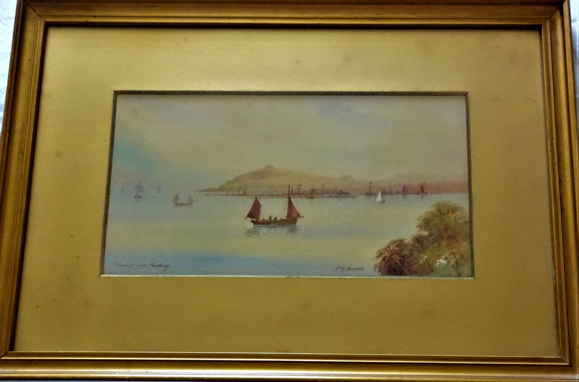 Falmouth from Flushing, watercolour and gouache, titled and signed G.M. Avondale, c1920.