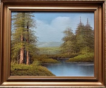 Landscape with Trees and River, oil on canvas, signed Hillcock, c1980. Framed.