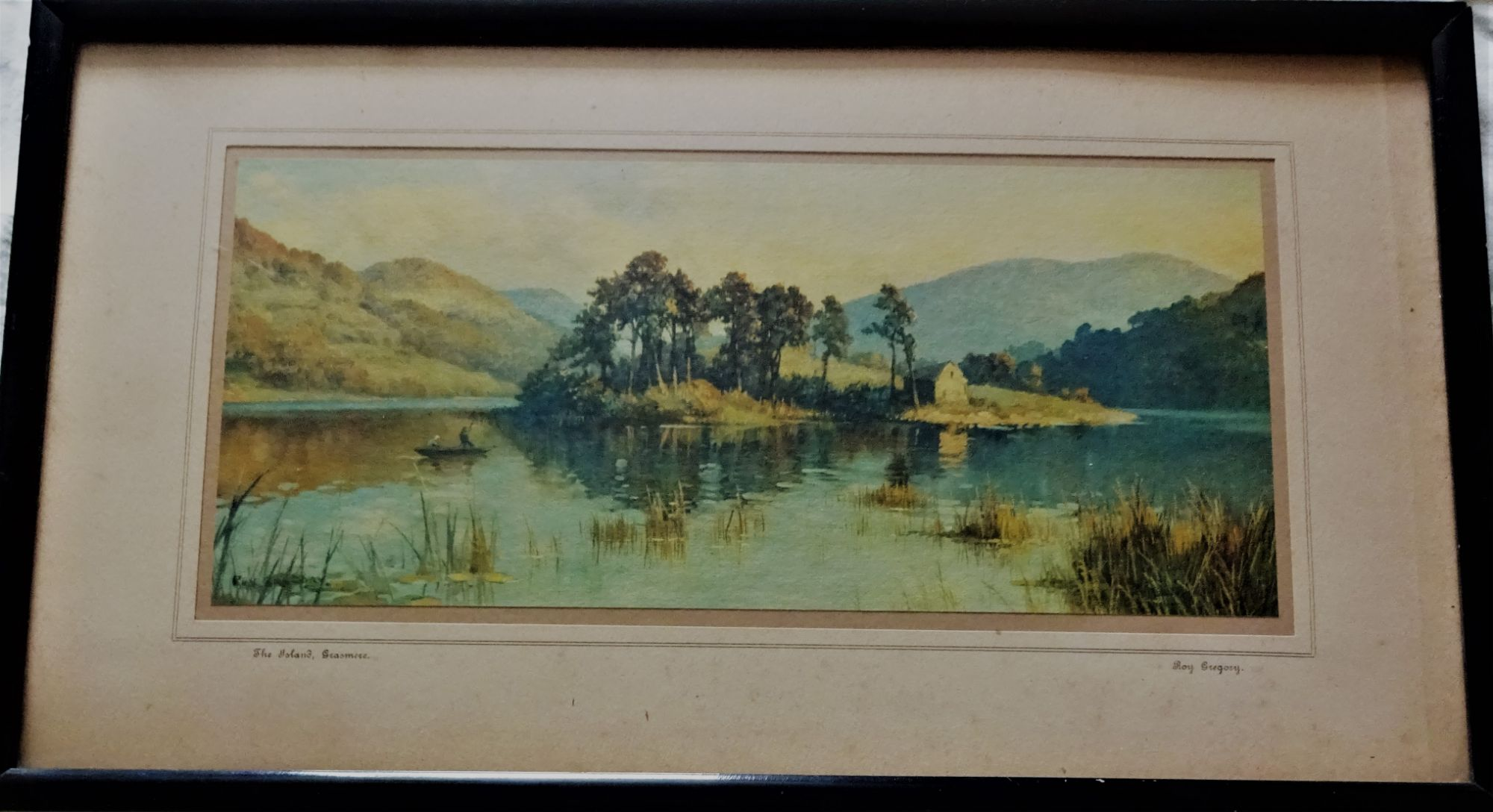 Grasmere Island, Lake District, England, chromolithograph, Roy Gregory, c1940. Framed.