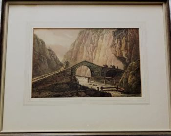 Packhorses crossing Alpine stone bridge, watercolour on paper, unsigned, c1890. Framed.