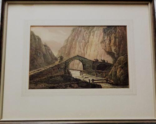 Packhorses crossing Alpine stone bridge, watercolour on paper, unsigned, c1