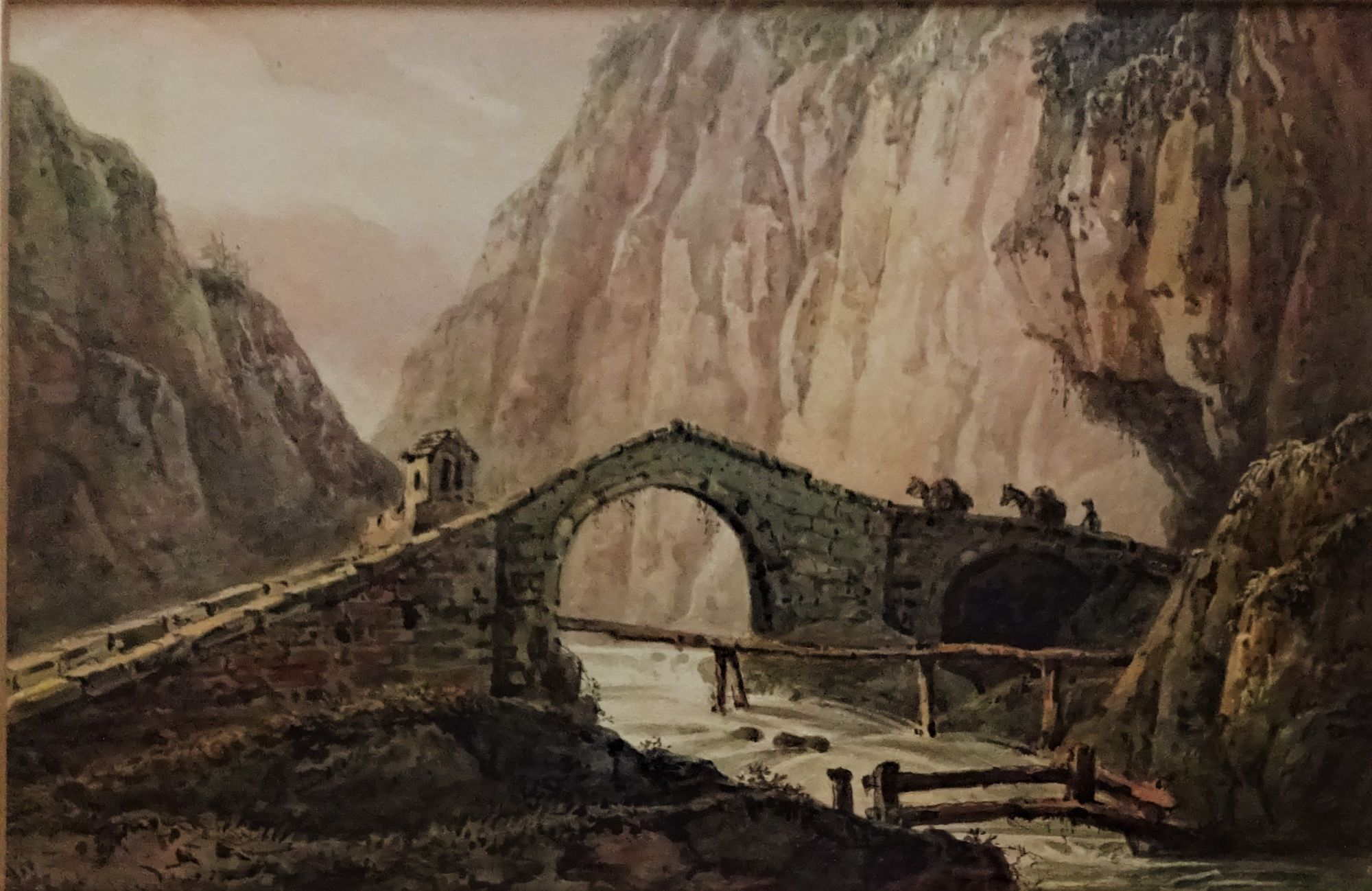 Packhorses crossing Alpine bridge, watercolour, unsigned, c1890. Framed.
