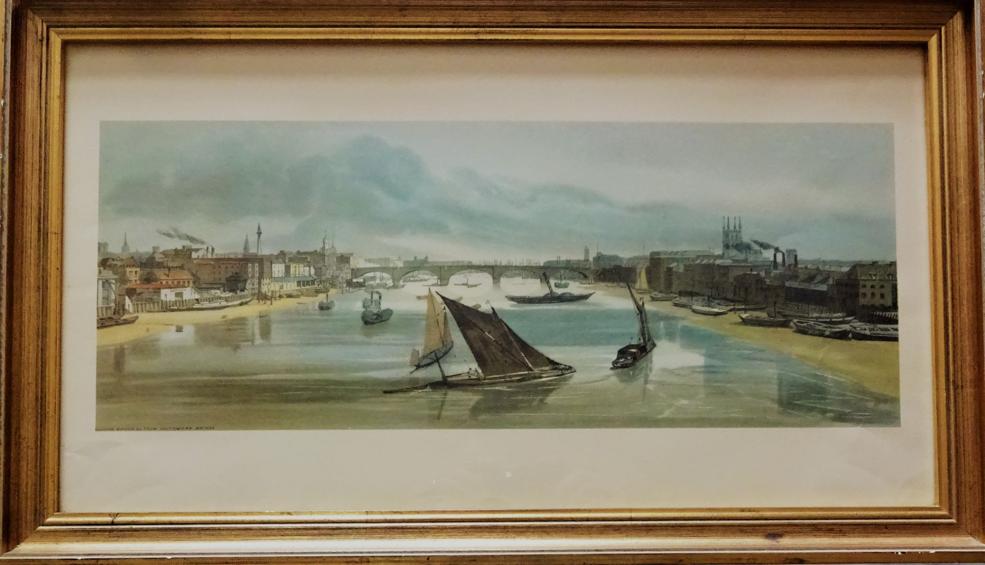 New London Bridge viewed from Southwark Bridge, River Thames, gravure print, c1960. Framed.