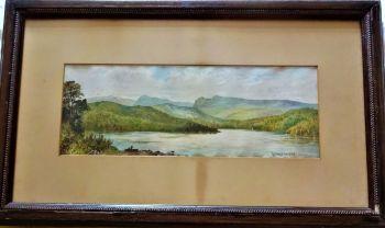 Windermere, chromolithograph print of watercolour landscape, unsigned, c1890. Original frame.