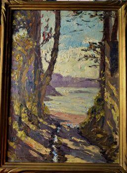 Dinard, Bretagne, landscape, oil on panel, titled and signed G - P Guinegault, 1923. Framed.