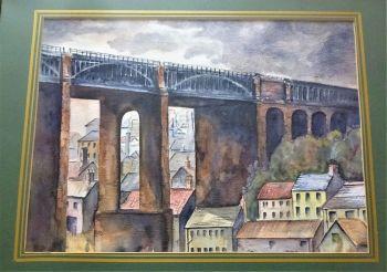 Newcastle-upon-Tyne High Level Bridge, watercolour on paper, signed DEK (Derek Oldham) July 1999. Framed.