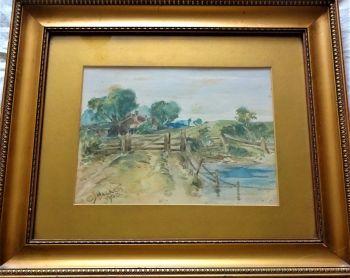 Gate to Farmhouse, landscape, watercolour on paper, signed CJ Hackett 1908. Original frame.