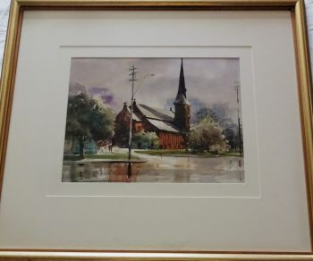All Saints Anglican Church, Elizabeth St., Parramatta on a Rainy Day, watercolour, signed Helen Goldsmith, c1995. Framed.