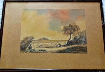 Malayan Fishing scene with figures, watercolour on paper, signed G. Sajolly 52, 1952. Original frame.