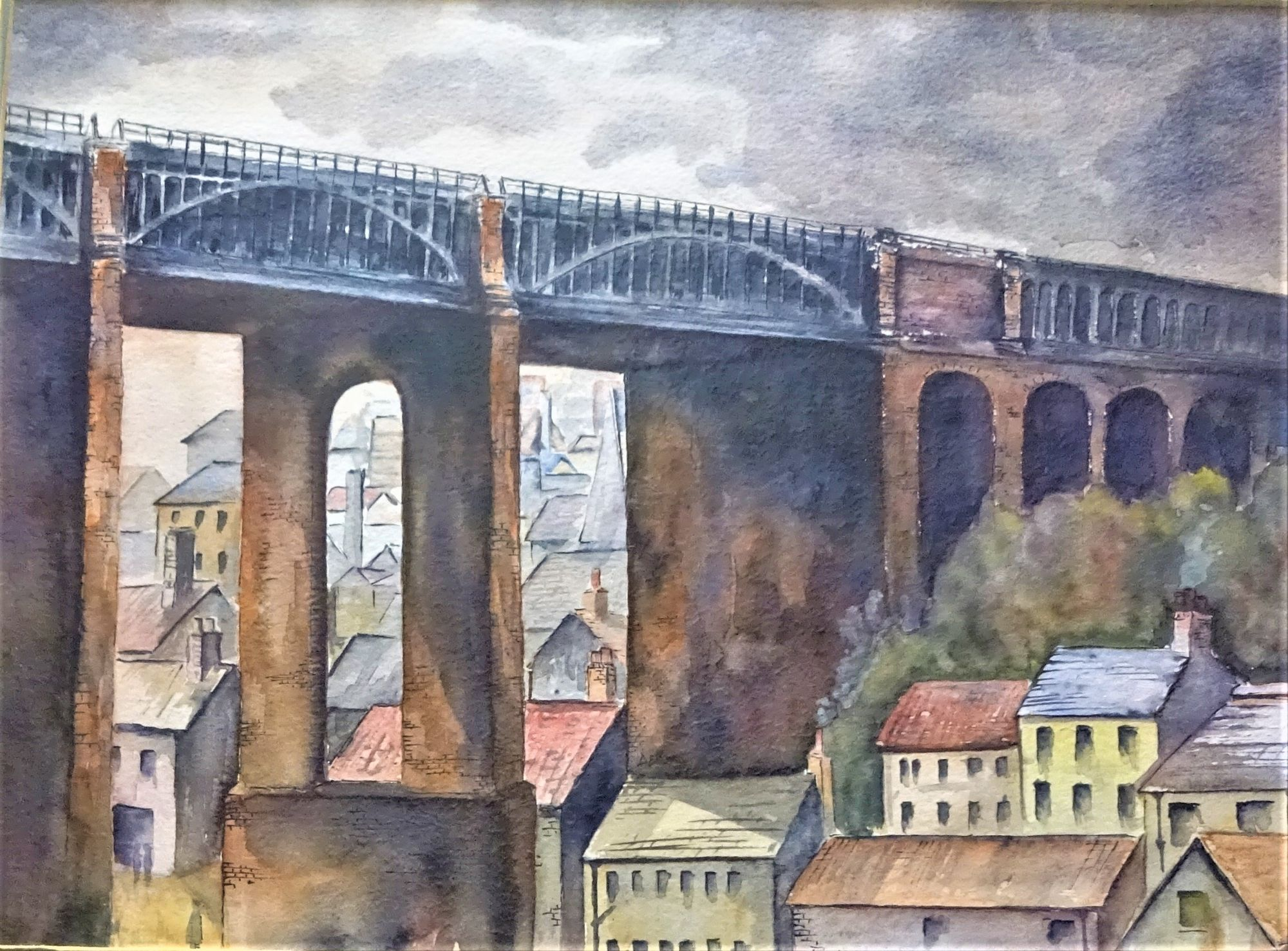Newcastle-upon-Tyne High Level Bridge, watercolour on paper, signed DEK (Derek Oldham) July 1999. Framed.