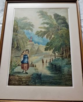 Woman carrying Child in Fens near to House, watercolour on card, signed initials RM dated 1888, Robert Walker Macbeth.  Framed.