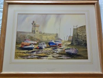 Low Tide at Lynmouth Harbour North Devon, watercolour on paper, signed Gordon Chell, c1990. Framed.