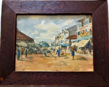 Cholon, China Town, Saigon, Vietnam, watercolour on paper, signed J. Anger 06 (1906). Original frame.