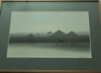 Two figures and a Camel near the Pyramids, Egypt, gouache on paper, signed Frank Holme, c1920. Framed.