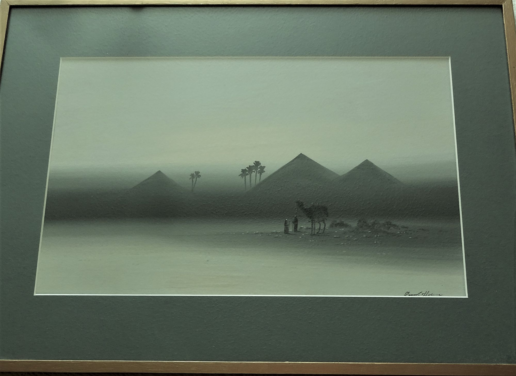 Frank Holme, Two Figures and Camel near Pyramids, gouache, signed, c1920.