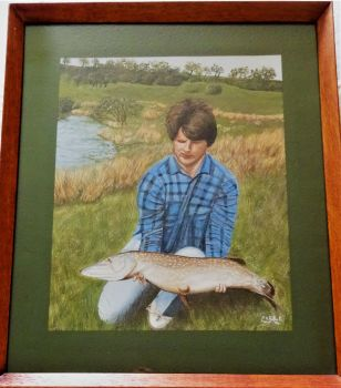 Catch of the Day, a prime Pike, gouache on paper, signed and dated Y.O. Roberts June '94. Framed.