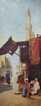 Family Conversation on Street leading to Al-Azhar Mosque Cairo, oil on canvas, signed and dated Max Arnold 1922. Unframed on stretcher.