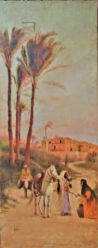 The Water Vendor, Egyptian suburban scene, oil on canvas, unsigned. Max Arnold, c1922. Unframed on stretcher.