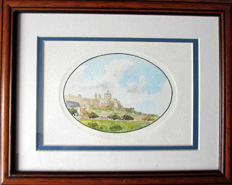 Mdina, watercolour, signed AM Galea '89. Framed.