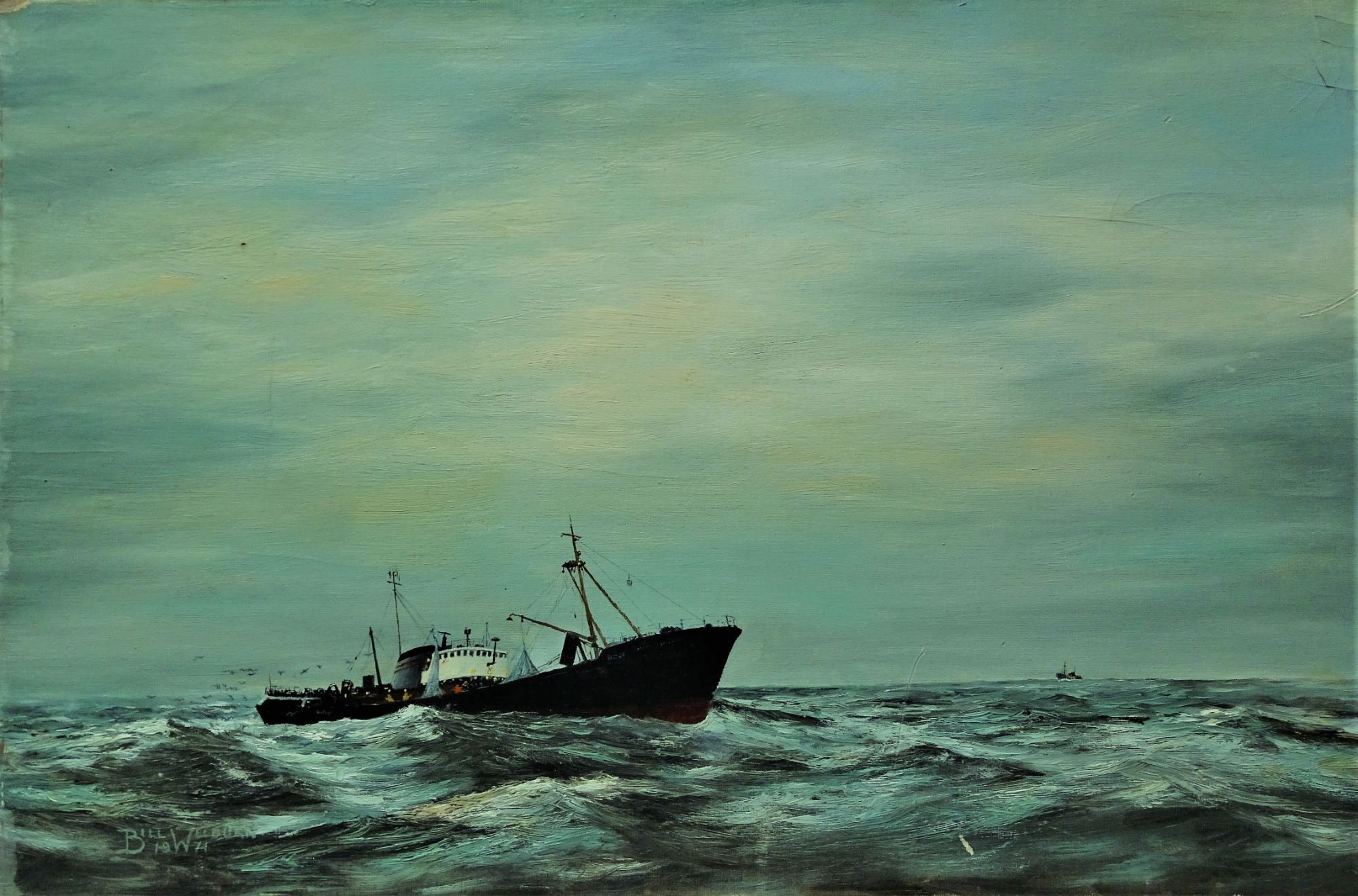 Hull sidewinder trawler fishing, oil on board, Bill Welburn 74.