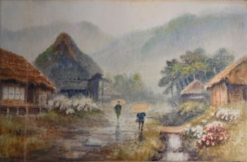 Rainy July day in Japanese Village with Figures and Hydrangeas, watercolour on paper, signed Hiroshi, c1902. Original frame.