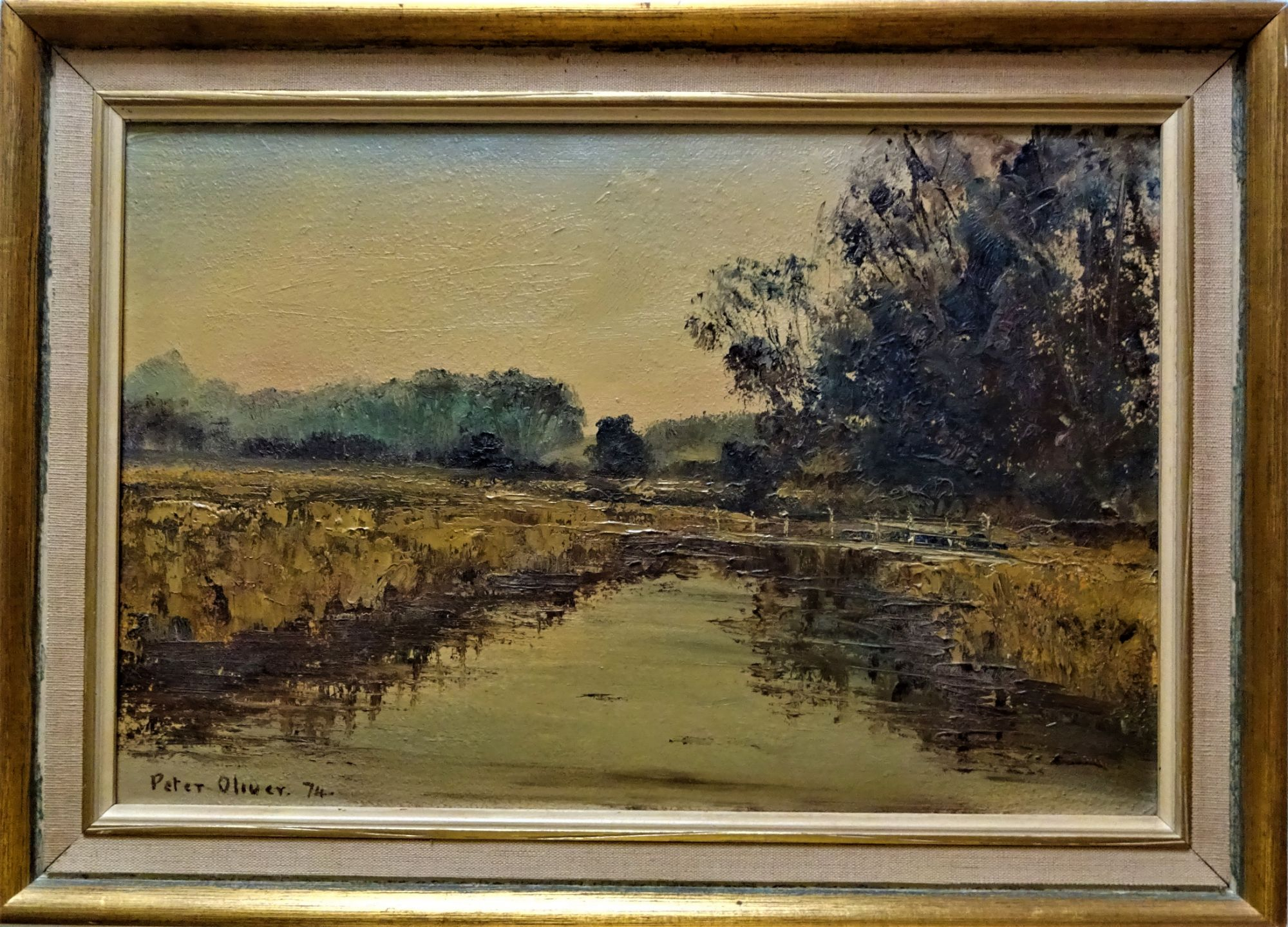 Peter Oliver (1927-2006) , River Test Hampshire, oil on board, signed Peter Oliver 74.