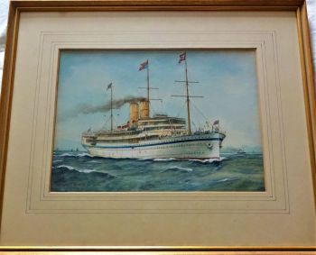 Royal Yacht H.M.S. Medina, 1911-12, at Sea, watercolour and gouache, signed Gerald M. Burn, 1917. Framed.