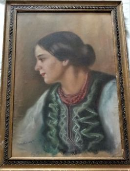 Portrait of an Eastern European Woman, pastel on paper, signed Kokoshenski, c1920. Framed.