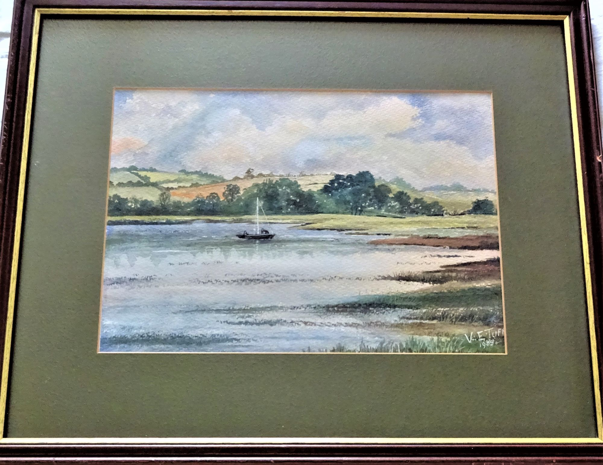 Lake scene near Belchford Lincolnshire, watercolour and gouache, signed and dated V.E. Tuff 1988. Framed.