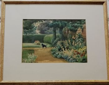 The Errant Poodle in an English Garden, watercolour on card, unsigned, c1920.  Framed.
