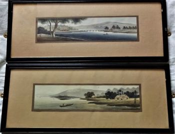 Japanese woodblock prints, a pair, shin-hanga era waterside landscapes, signed in script and seal, c1920. Ebonized frames.