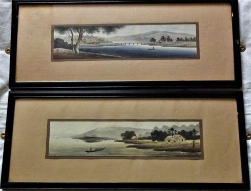 Japanese woodblock prints, a pair, shin-hanga era waterside landscapes, si