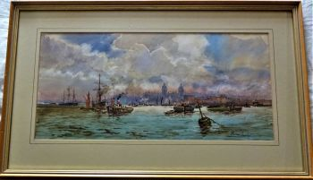 River Thames, Greenwich Reach, busy maritime scene, watercolour on paper, signed Michael Crawley, c1968. Framed.