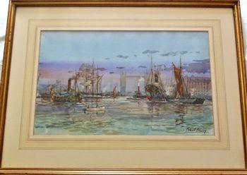 The Pool of London towards Tower Bridge, River Thames, watercolour, signed Michael Crawley, c1970.
