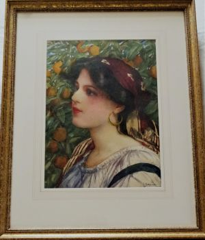 Portrait study of Amy Barbaro in an Orange Grove, watercolour on paper, signed G. Barbaro, c1900. Framed.