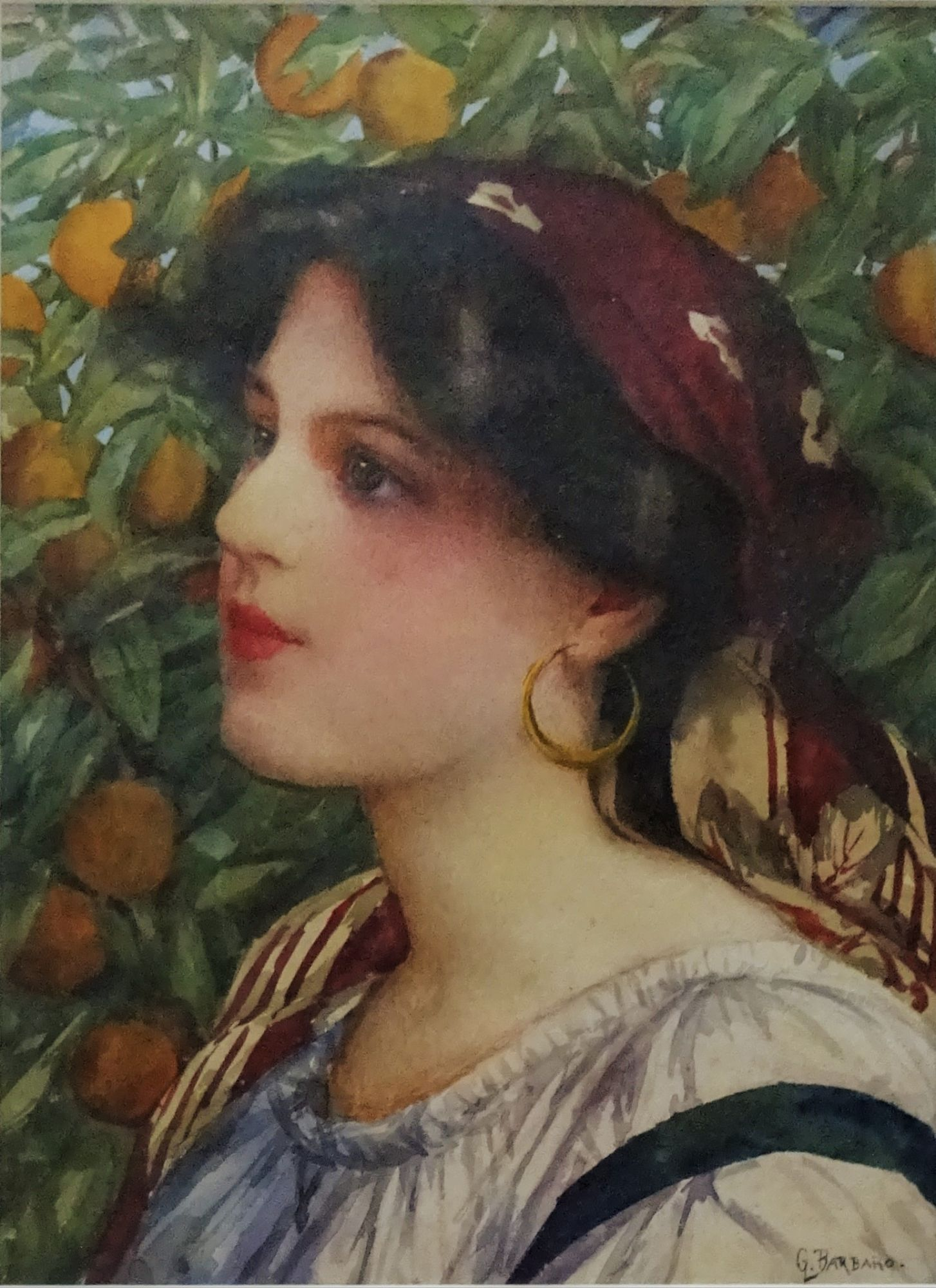 Amy Barbaro portrait, signed G. Barbaro, c1900.