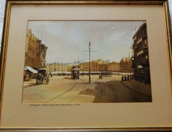 Nottingham Market Place from Angel Row c1903, watercolour and gouache on paper, no visible signature. c 1980.  Attrib. David Coupe.