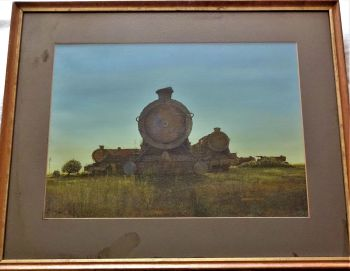 The End of the Line, Steam Locomotives at Barry Island, gouache on paper, signed Laurence Roche, 1976. Framed.