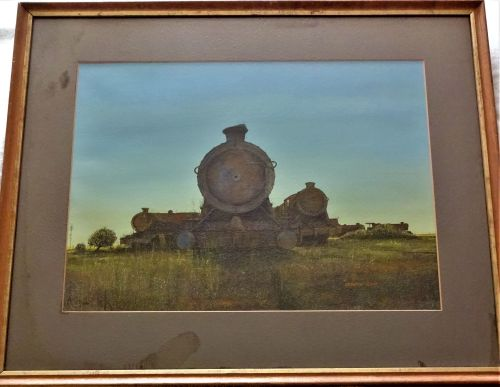 The End of the Line, Steam Locomotives at Barry Island, gouache on paper, s