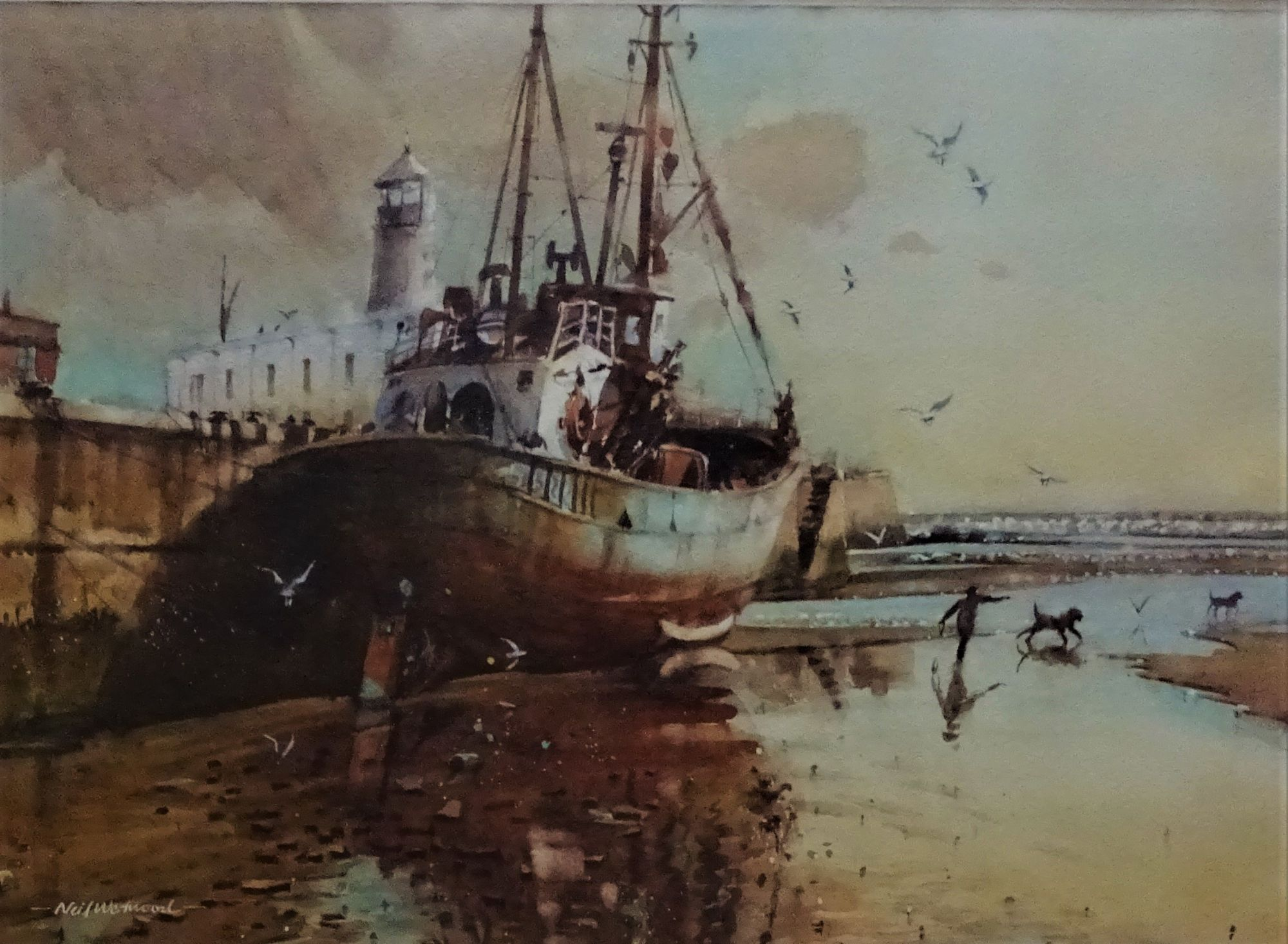 Neil Westwood, Scarborough Harbour, watercolour, 1997.