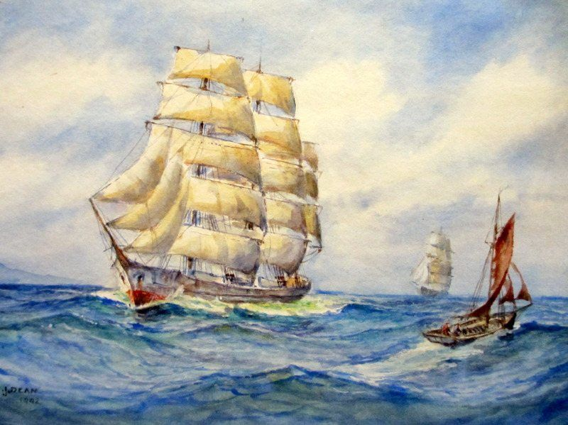 Sailing Ships Passing, watercolour,  WEJ Dean, 1942.