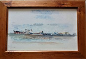 Bulk Cargo Terminal, Port of Immingham, watercolour on paper, signed Keys 2001. Framed.