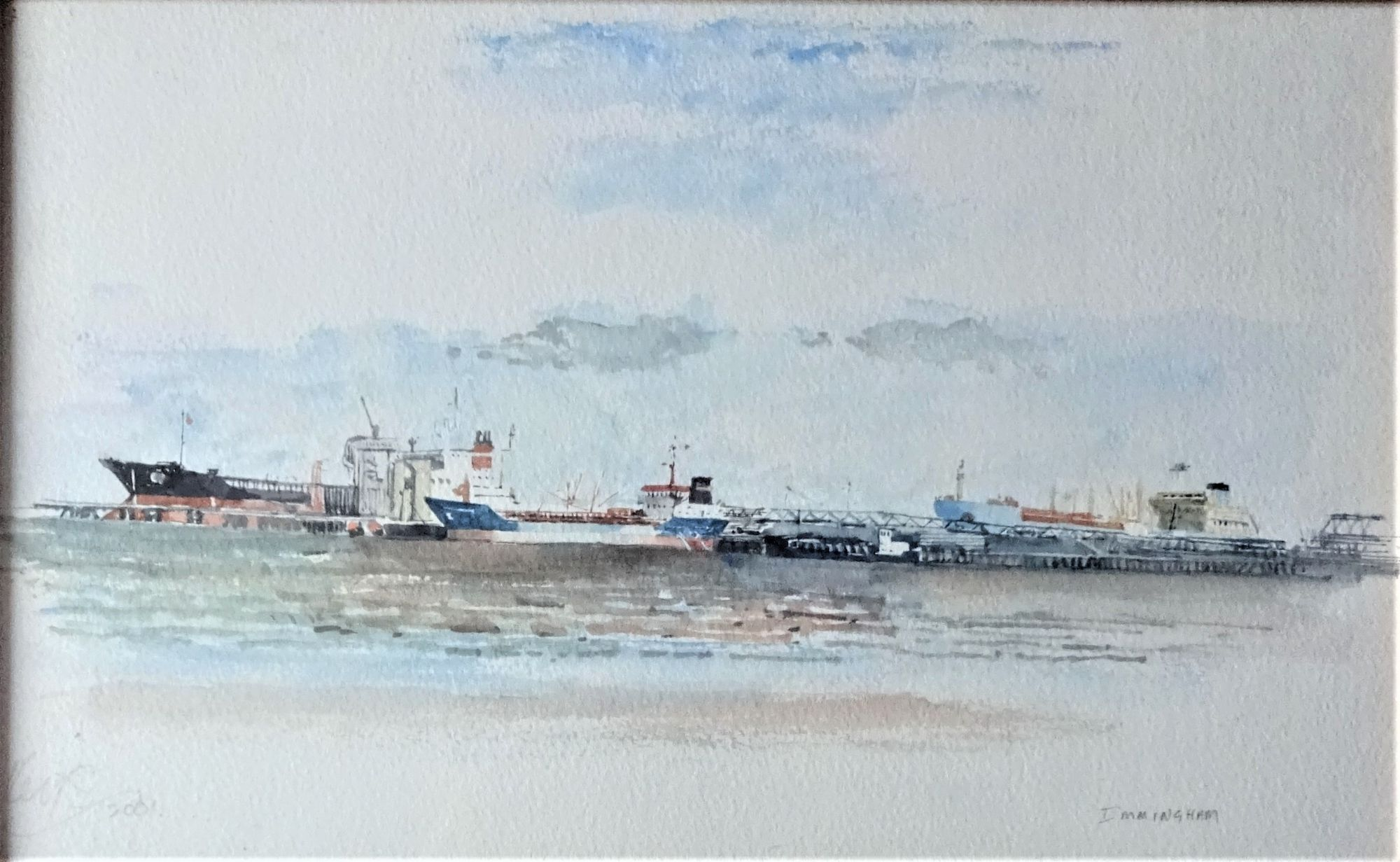 Port of Immingham,  watercolour,  Leslie Keys 2001.