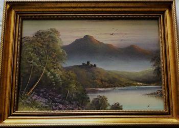 In the Trossachs, 20thC Scottish School, gouache on paper, unsigned. c1960. Framed.
