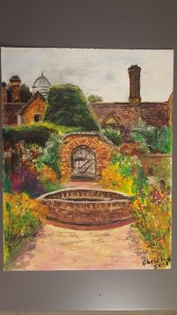 Packwood House Victorian Garden, oil pastel on paper, signed Christine, 2019. Unframed.