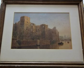 Old Castle Newark, watercolour over pencil on paper, signed initials C.P.T.  (Charles Pratt Terrot) c1835. Framed.