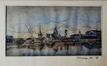 20thC Mixed Media study of River Thames London waterfront, obscure title signed initials AR, c1968. Unframed.