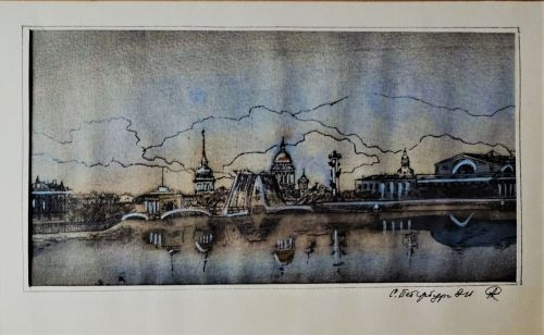20thC Mixed Media study of River Thames London waterfront, obscure title si