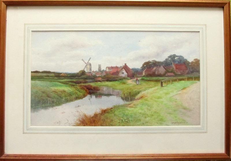 George Oyston, landscape, watercolour, c1920